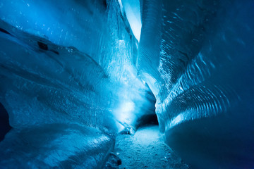 The polar arctic Northern ice cave in Norway Svalbard in Longyearbyen city   Fototapete
