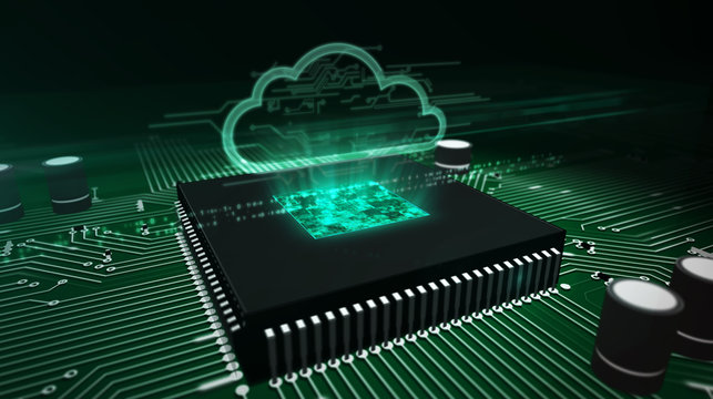 CPU on board with cloud hologram