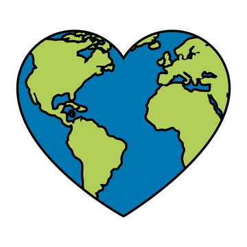 world planet earth with heart shape