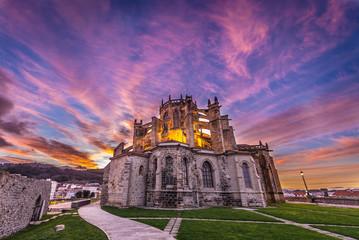Santa Maria de la Asuncion Church and ruins of San Pedro hermitage in Castro Urdiale city in Spain