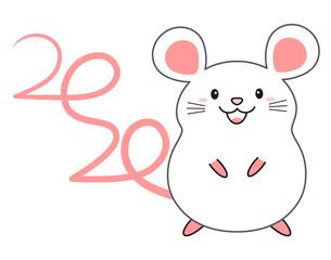 しっぽの形が2020になっているねずみ mouse 2020