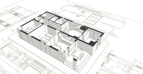 house building 3d illustration Fototapete