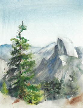 Landscape Yosemite national park waterfall mountains nature watercolor painting illustration