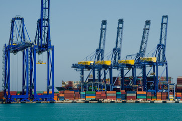 Container terminal by the sea