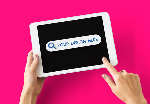 Person Using Paper-Cut Tablet Mockup on Pink Background