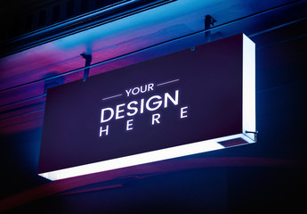 Dark Outdoor Neon Light Board Mockup