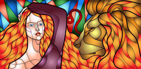 illustration of a beautiful girl embodying the zodiac sign in the style of stained Glass