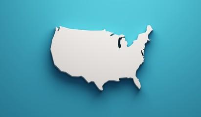 USA United States Map . 3D Render Illustration