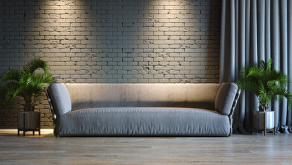 Interior background, room with dark gray wall, light and sofa, 3D illustration.  Wall mural