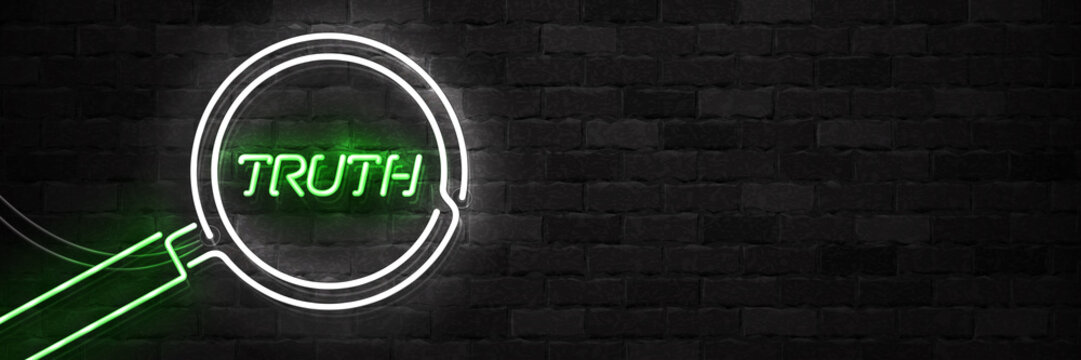 Vector realistic isolated neon sign of Truth flyer logo for template decoration on the wall background.