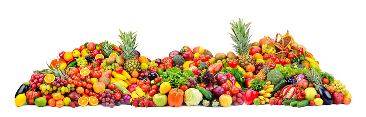 In de dag Keuken Big pile fruits and vegetables isolated on white