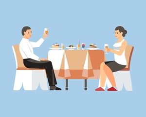 Couple Drinking Wine Flat Vector Illustration