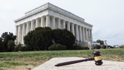 Lincoln Memorial and Gavel Law. Photo