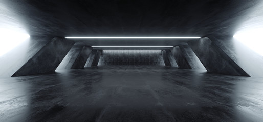 Sci Fi Modern Concrete Cement Dark Empty Asphalt Reflective Grunge Hall Room Corridor Tunnel Spaceship Glowing White Cinematic Daylight Rays Glow 3d Rendering Wall mural