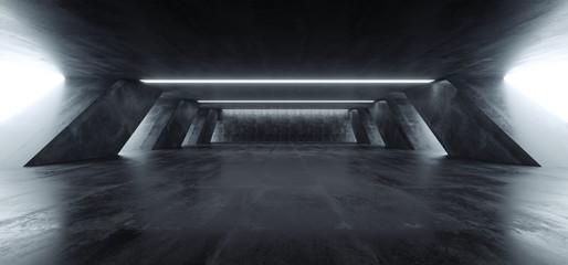 Sci Fi Modern Concrete Cement Dark Empty Asphalt Reflective Grunge Hall Room Corridor Tunnel Spaceship Glowing White Cinematic Daylight Rays Glow 3d Rendering Wall mural