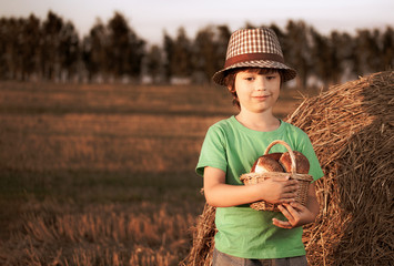 Boy with basket of buns