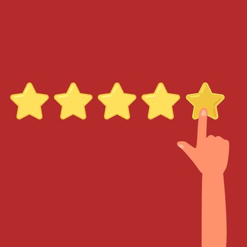 Human hand leaving a review of five stars cartoon style