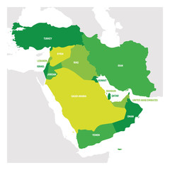 Fototapete - West Asia Region. Map of countries in western Asia or Middle East. Vector illustration