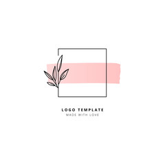 Square with leaves and pink horizontal stroke logo template