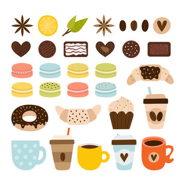 Coffee and tea collection. Coffee-shop icons. Set of tea symbols, objects and elements. Macaroons, chocolate, croissant, donut