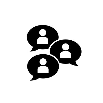 Group chat bubbles or forum discussion with multiple people chatting flat vector icon for apps and websites