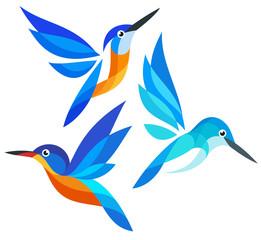 Stylized Birds in flight - Kingfishers