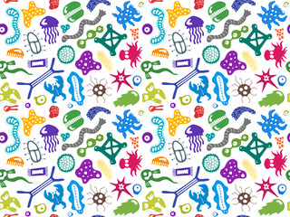 Various microorganisms seamless pattern. Backdrop with infectious germs, protists, microbes, disease causing bacteria, viruses. Biodiversity plankton. Colorful vector illustration
