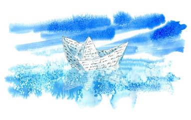 Landscape with sea,sky and paper boat.Marine image.Watercolor hand drawn illustration.White background.