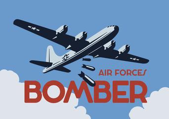 World war 2 bomber aircraft. Vector illustration.