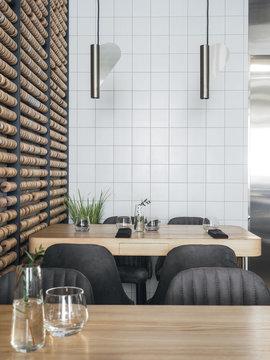 Contemporary interior of restaurant hall