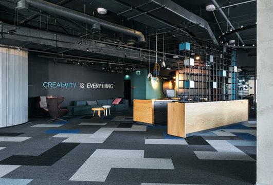 Trendy office hall in dark colors