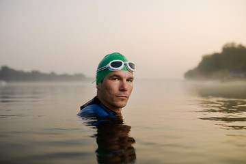 Portrait of swimmer in the water.