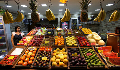 Vegetables and fruits are seen at a greengrocery in a market in Buenos Aires