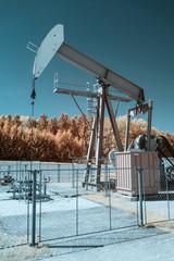 Oil pump during spring in austria, shot in Infrared IR