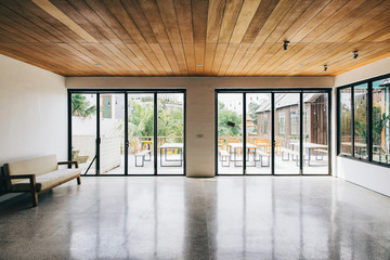 Empty Bright Room With Glass Window Front