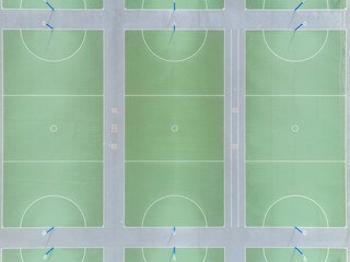Aerial views of netball court