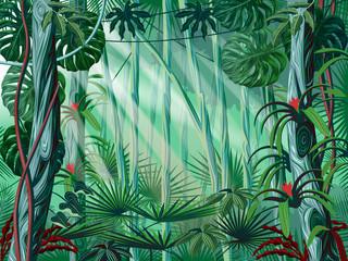 Jungle background. Handmade drawing vector illustration.