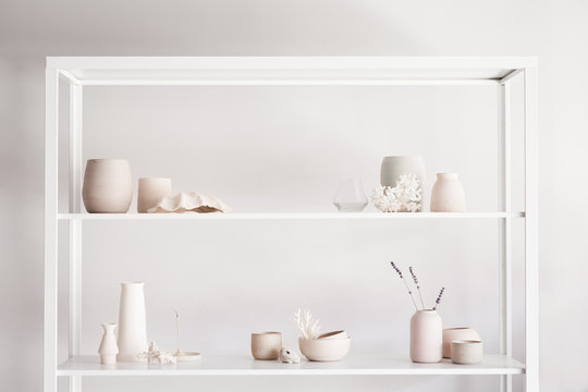 Hand made ceramics on a shelf