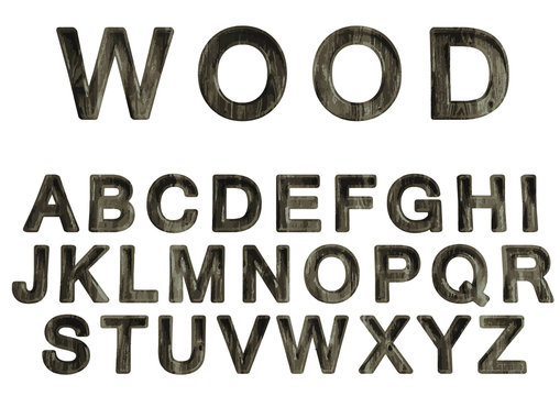 Vector set of wood alphabet.