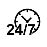 24 hours clock icon flat vector illustration design