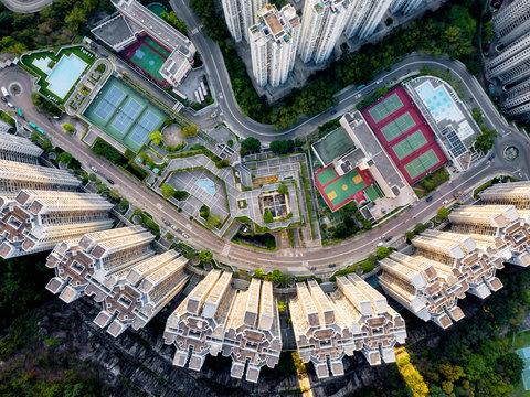 Aerial view of residencial buildings in Hong Kong