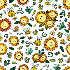 Vector colorful sunflowers and bees repeat pattern with white background. Suitable for gift wrap, textile and wallpaper.