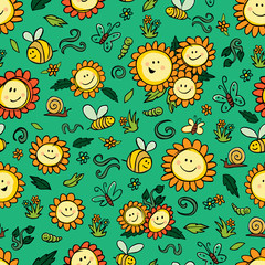 Vector colorful sunflowers and bees repeat pattern with green background. Suitable for gift wrap, textile and wallpaper.