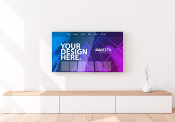 Smart TV on Wall Above Console Mockup