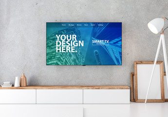 Smart TV on Concrete Wall Mockup