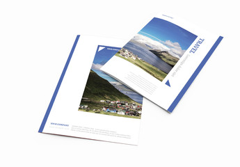 Travel-Themed Bifold Brochure with Blue Edges