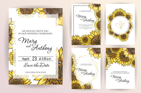 Set of wedding invitation card flowers Sunflower. A5 wedding invitation design template on white background. Hand drawn colorful marker illustration.Doodle sketch line on white background frame