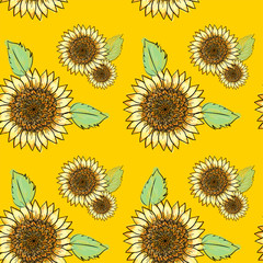 Sunflower seamless pattern with green leaves, imitating ink and watercolor on yellow background. Hand-drawn flower heads. Natural themed wallpaper, wrapping,packaging paper,birthday card design