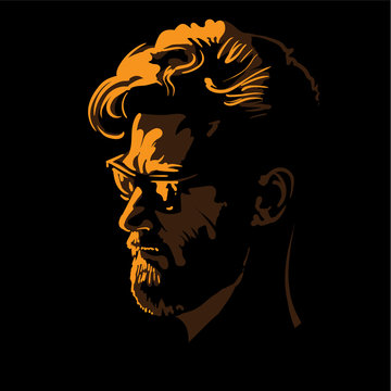 Man portrait silhouette in backlight. Contrast face with sunglasses. Vector. Illustration.