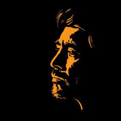 Man portrait silhouette in backlight. Contrast face. Illustration.